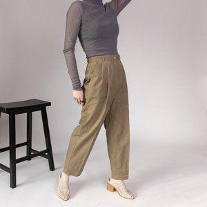 Vintage 80s olive green high waist trouser pants